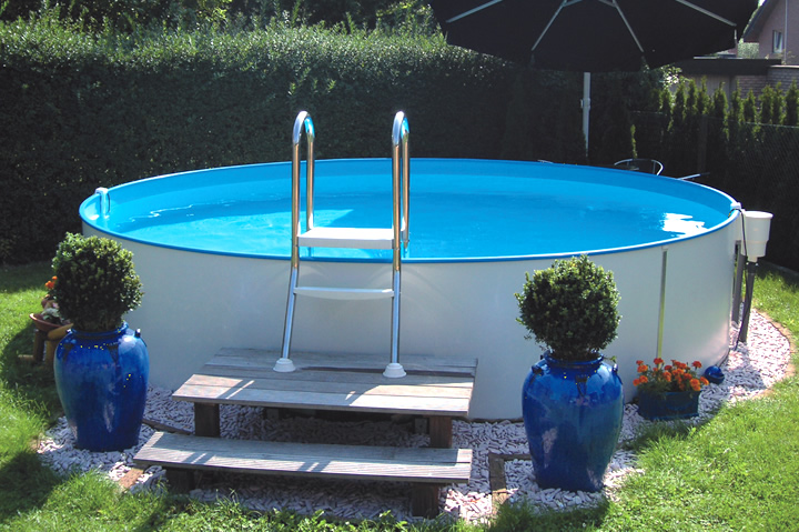Rundpool prime 350 x 135 cm komplettset apoolco for Poolfolie montieren