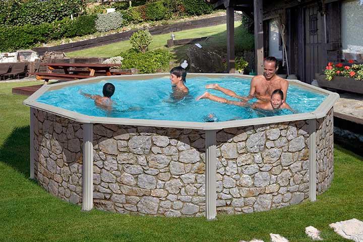 feeling pool set rund 350 x 120 cm steinoptik feeling. Black Bedroom Furniture Sets. Home Design Ideas