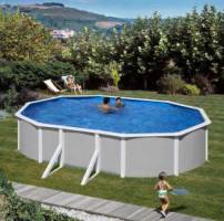 Ovalpool Feeling, 500 x 300 x 120 cm, grau, Komplettset