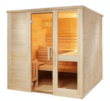 Massivholzsauna Komfort Large, 206x208x204 cm, 3 Personen