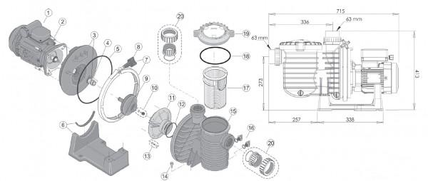 Laufradschraube 5P6R für Salzwasser (RC3017SS)