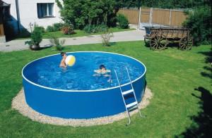 """Das Stahlwand Rundpool Set """"Splash"""" in Blau von myPOOL"""