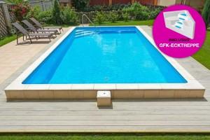 Styropor Pool 700 x 350cm Komplettset mit GFK-Ecktreppe