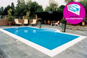 Styropor Pool 900 x 500cm Komplettset mit GFK-Römertreppe
