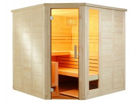 Massivholzsauna Komfort Corner Large, 206x234x204 cm, 3 Personen