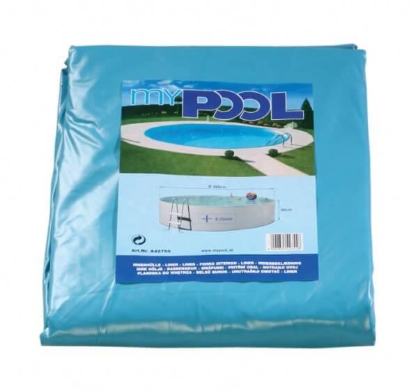 Poolfolie rund, 500 x 120 cm, 0,60 mm, mit Biese, blau