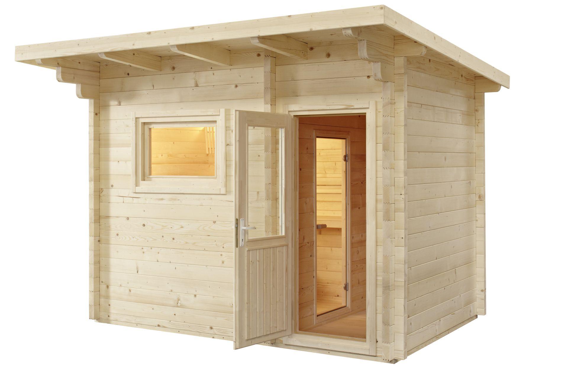 saunahaus lava 230x375x270 cm 3 personen sentiotec. Black Bedroom Furniture Sets. Home Design Ideas