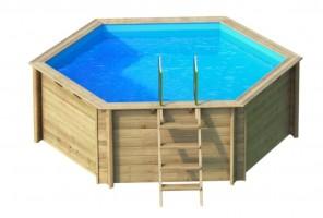 Holzpool Tropic Hexa 410, Ø359 x 120 cm, Komplettset