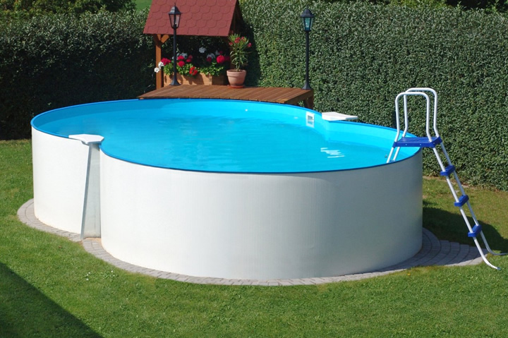 Achtformpool prime 725 x 460 x 120 cm komplettset apoolco for Aufstellpool stahl