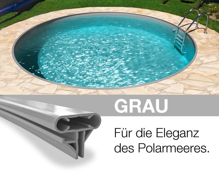Rundpool prime 450 x 120 cm einzelpool apoolco for Pool graue folie